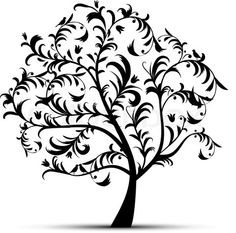 Curved tree of love clipart.