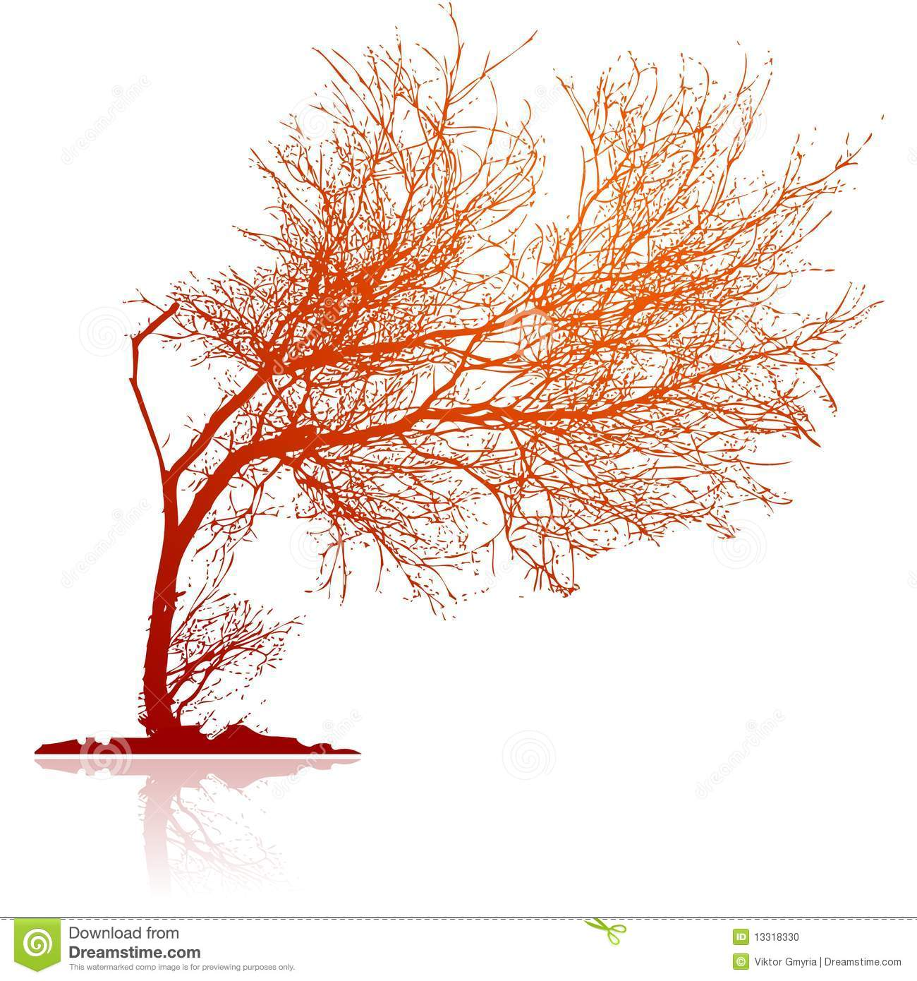 Bent Tree Silhouette Stock Illustrations.