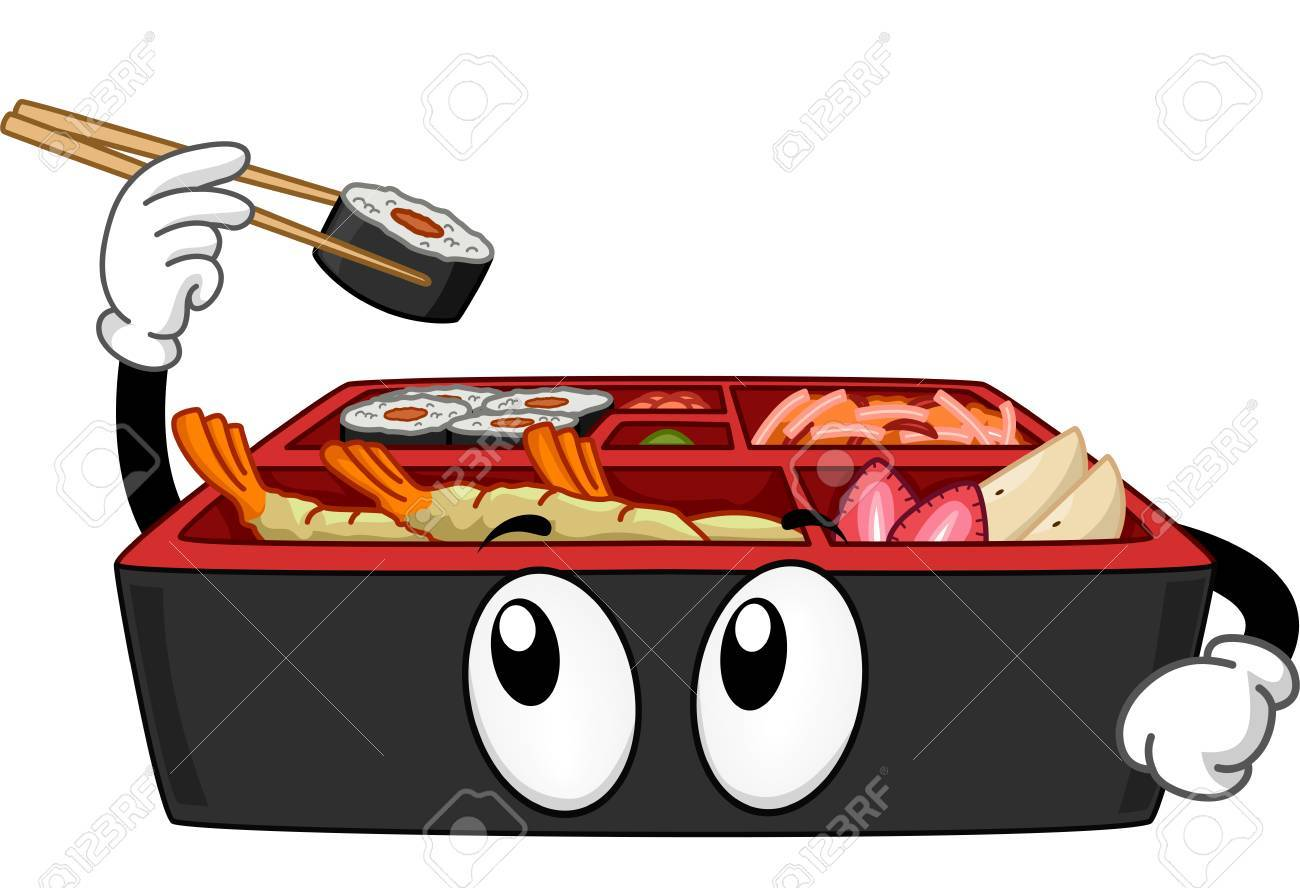 Mascot Illustration Featuring a Bento Box Picking a Maki.