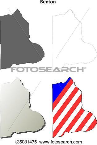 Clipart of Benton County, Washington outline map set k35081475.