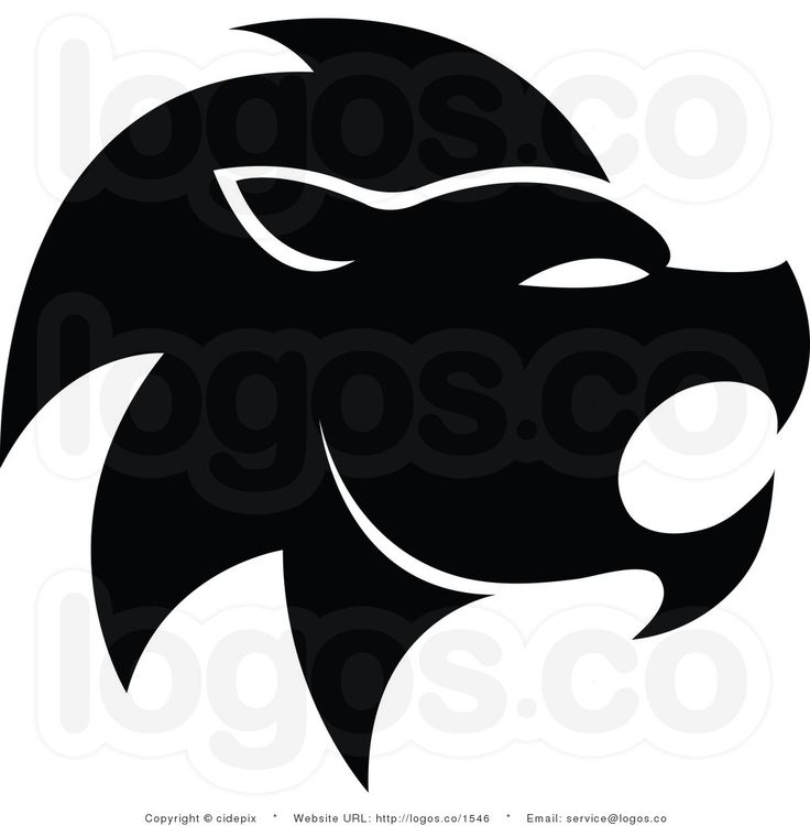 Royalty Free Vector Black and White Lion Leo Zodiac Logo by.