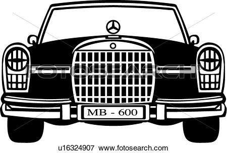 Clip Art of , auto, automobile, benz, car, mercedes, u16324907.