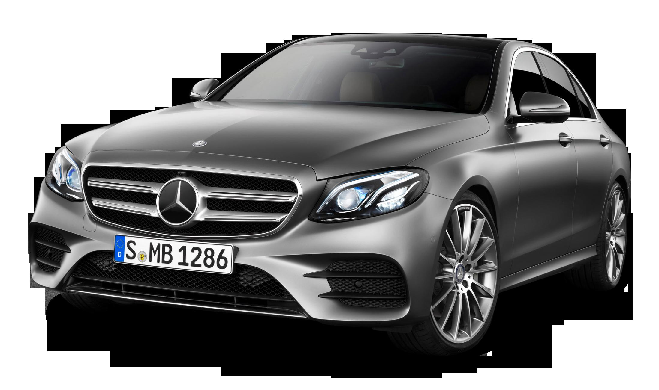 Grey Mercedes Benz E class Car PNG Image.