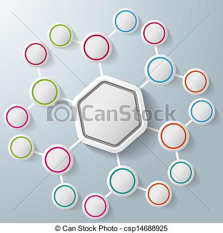Clip Art of Infographic Hexagon Colorful Rings Benzene.