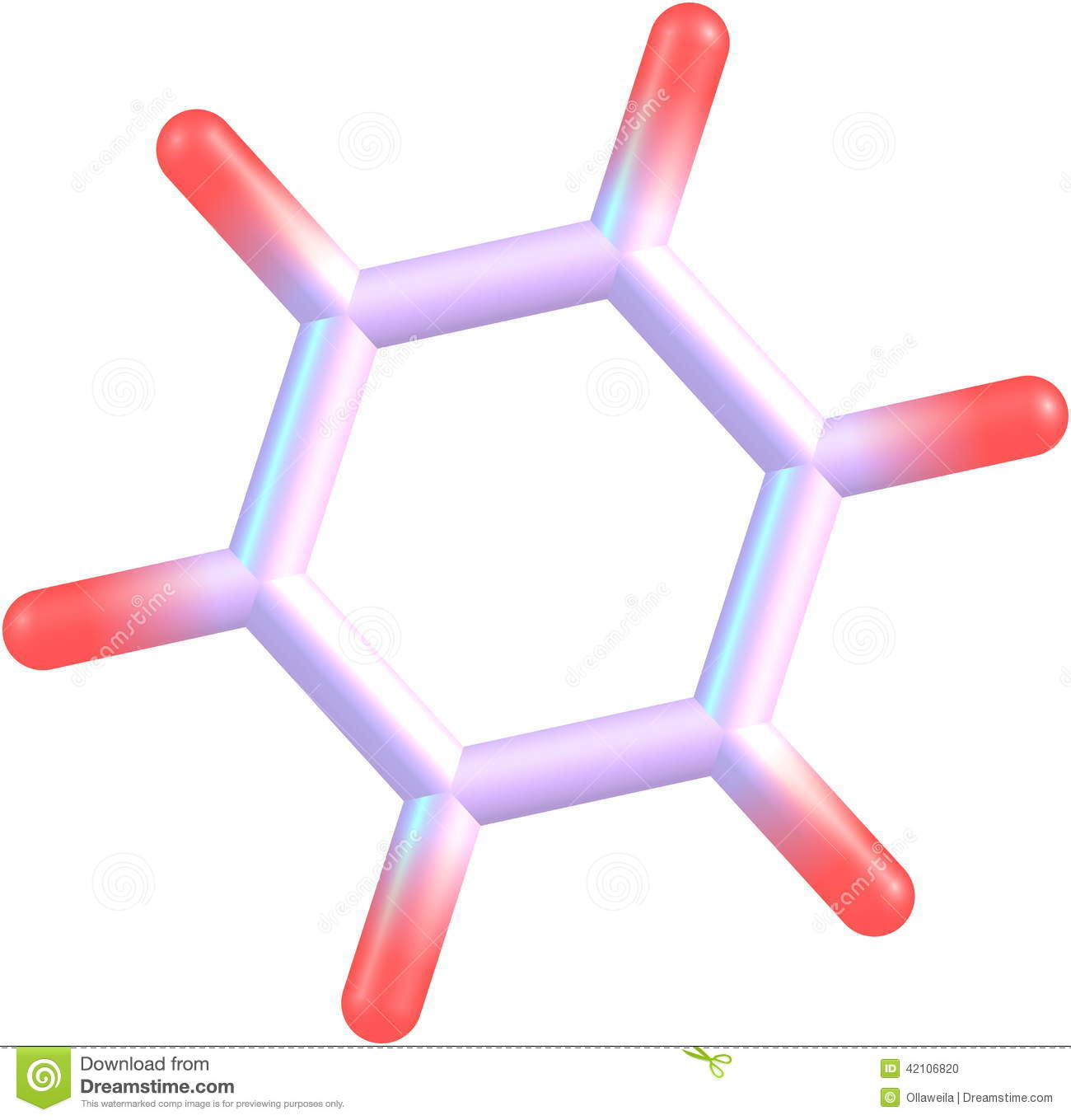Benzene Molecular Structure On White Background Stock Illustration.
