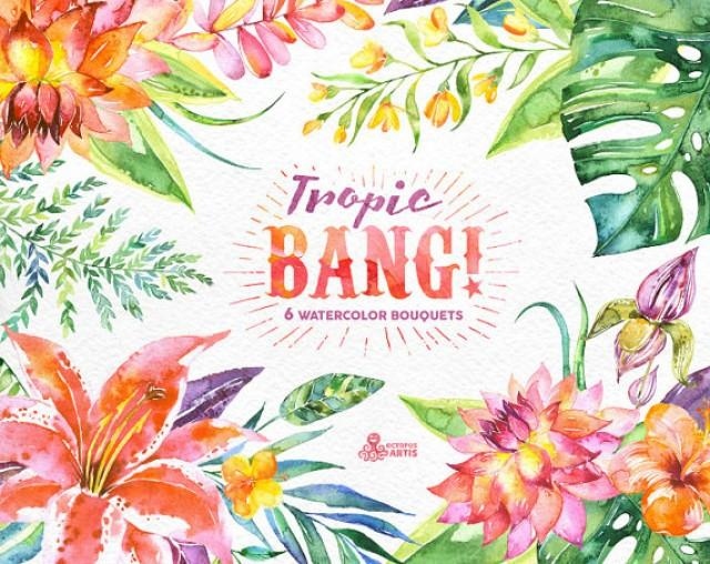Tropic Bang Bouquets: 6 Watercolor Bouquets, Lily, Hibiscus.