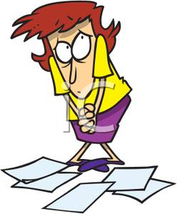 A Colorful Cartoon of a Woman with Papers on the Floor.