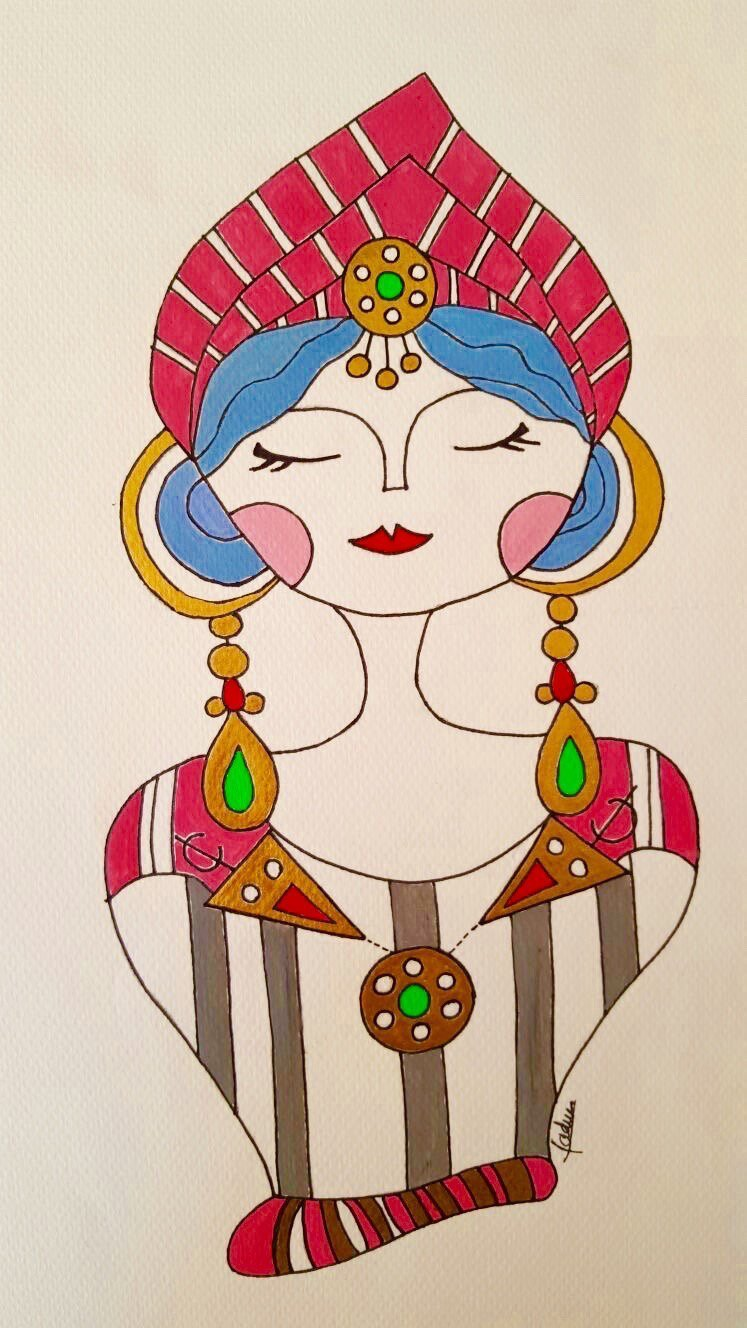 Pretty Berber Princess Acrylic Painting. This is a hand painted.