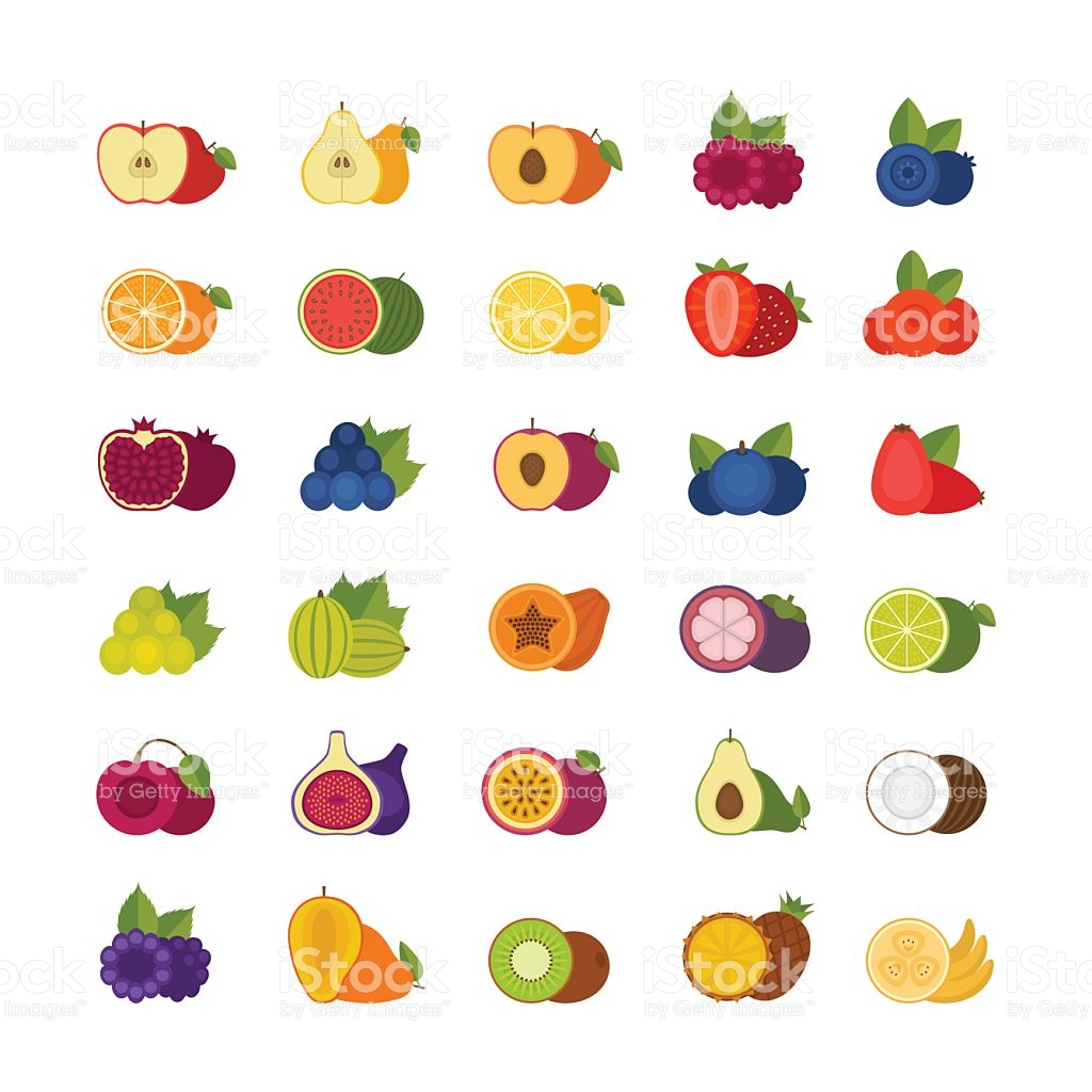 Fruits And Berries Icons Set Flat Style Vector Illustration Vektor.