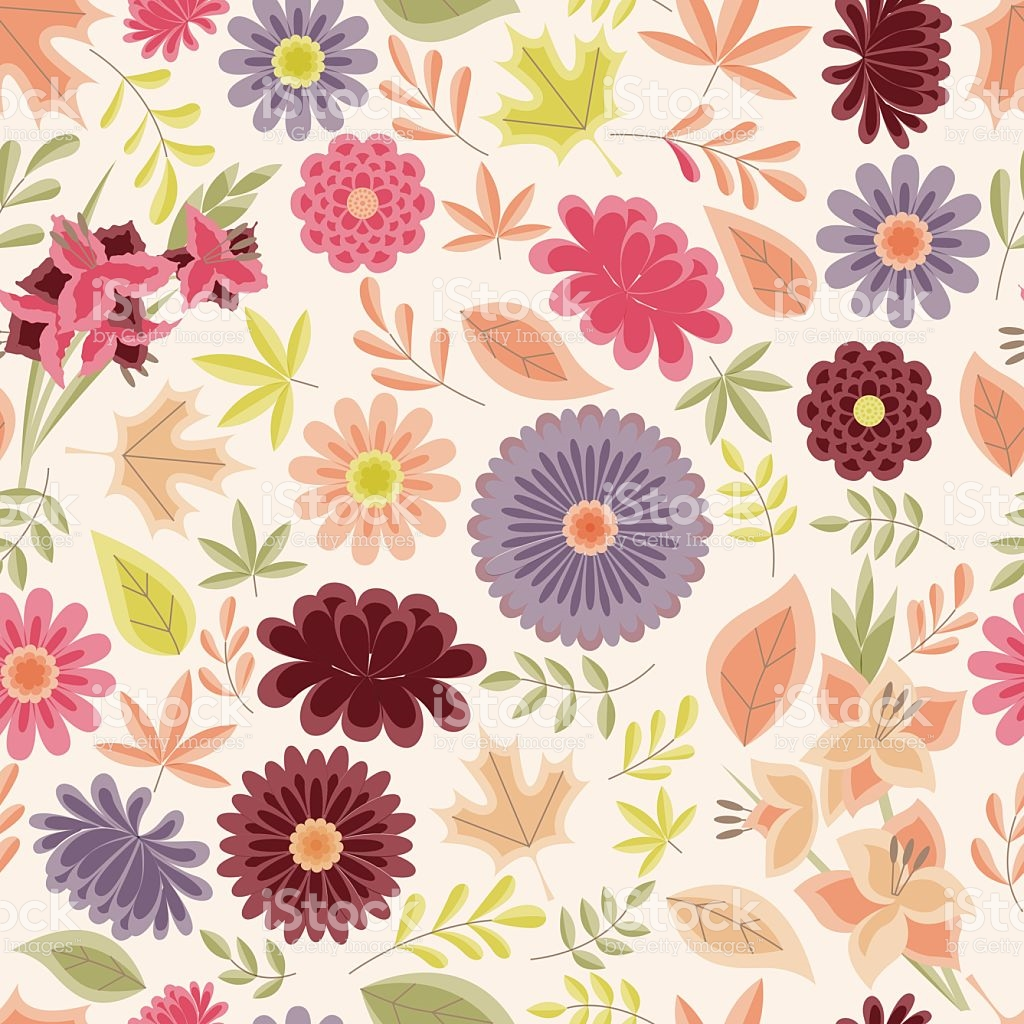 Autumn Seamless Pattern With Flowers And Leaves Vintage Vektor.