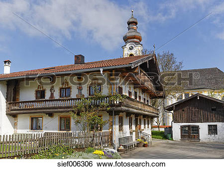 Stock Images of Germany, Bavaria, Berbling, church and farmhouse.