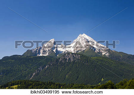 "Stock Image of ""Watzmann Mountain, view from Lockstein Mountain."