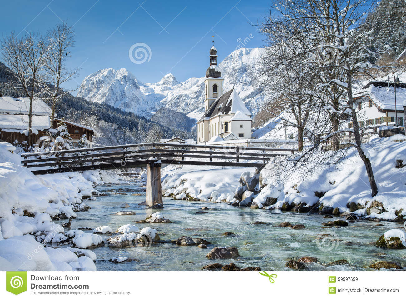 Ramsau In Winter, Berchtesgadener Land, Bavaria, Germany Stock.