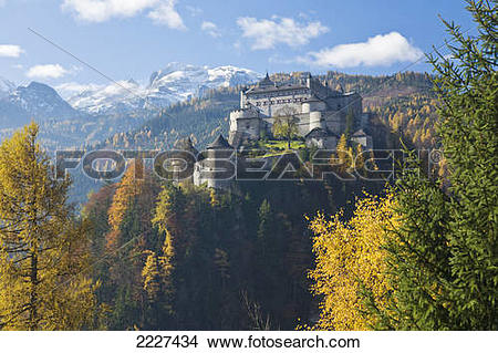 Stock Photo of Fort on hill, Werfen, Hohenwerfen, Berchtesgaden.