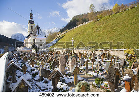 Stock Photo of Tombstones in cemetery, Maria Gern Church.