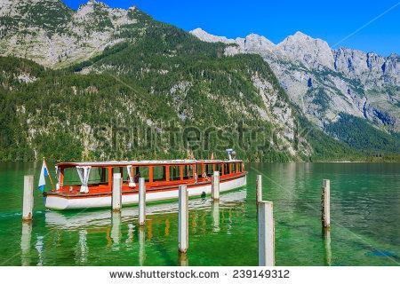 Boathouse On Green Water Konigsee Mountain Stock Photo 117074341.