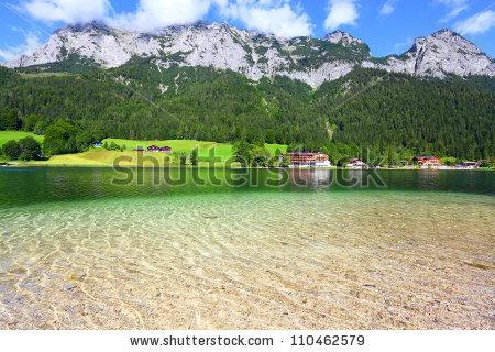 Pure Water In A Beautiful Alpine Lake. Hintersee Lake, Bavarian.