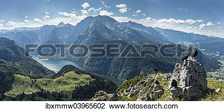 """Stock Photo of """"View of Konigssee Lake and Mt Watzmann from Mt."""