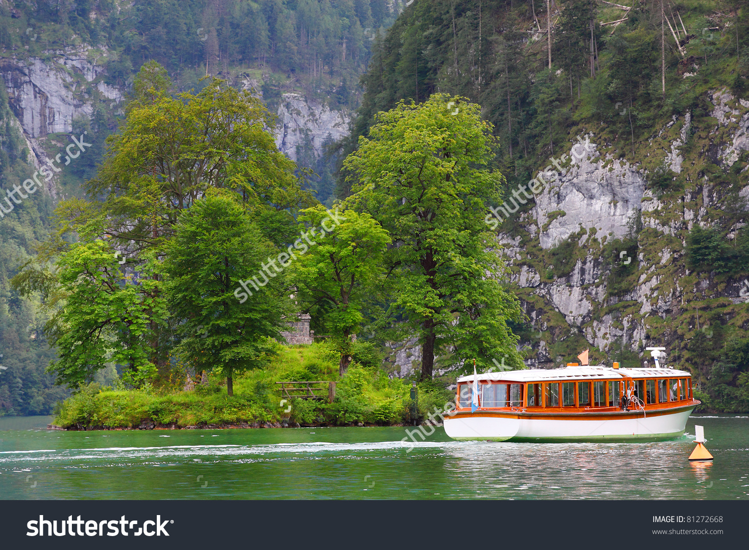 Ferry Boat On The Königssee. A Mountain Lake Located In The.
