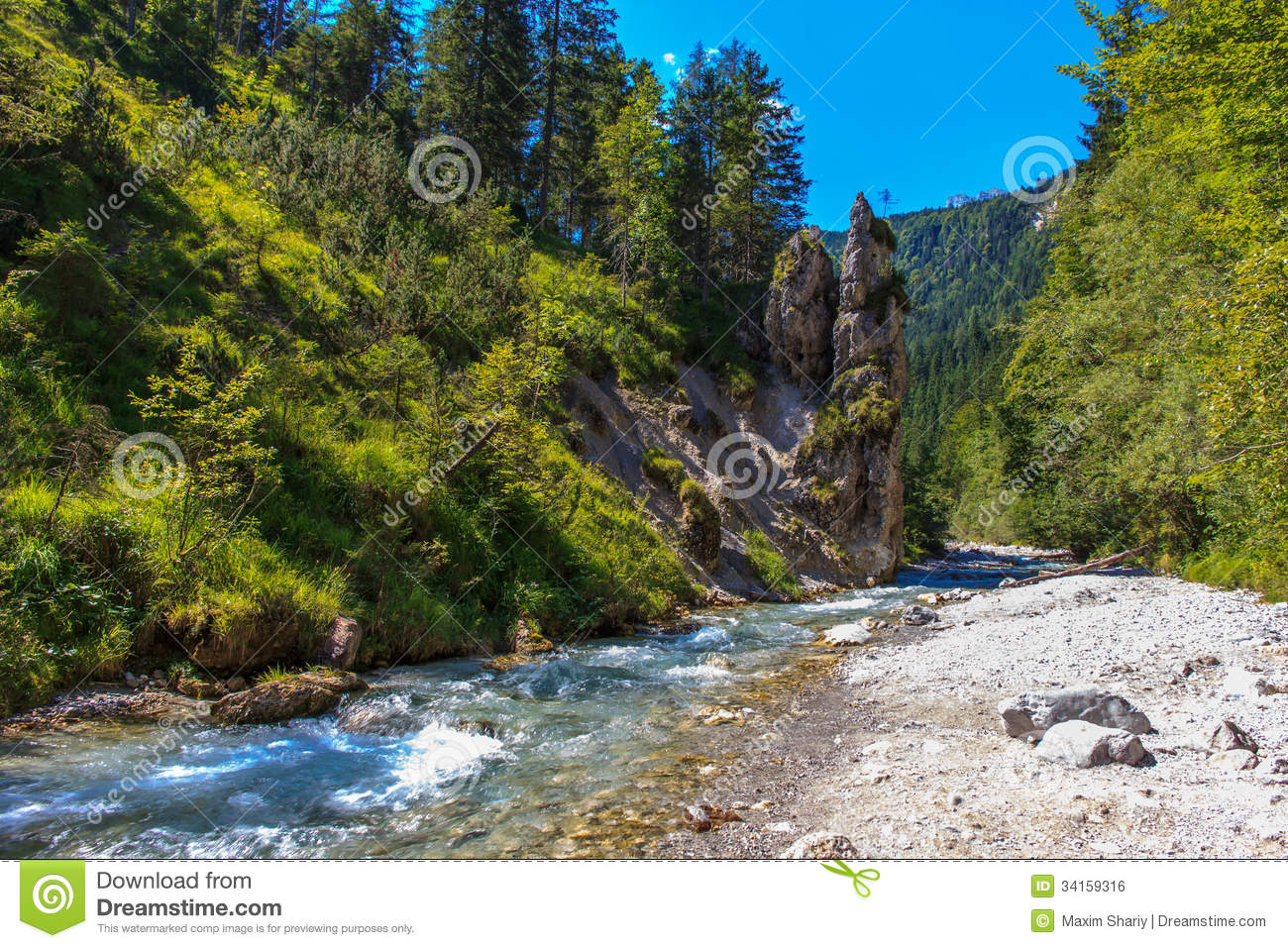 The Mountain River And Waterfall In The Alps, Bavaria, Germany.