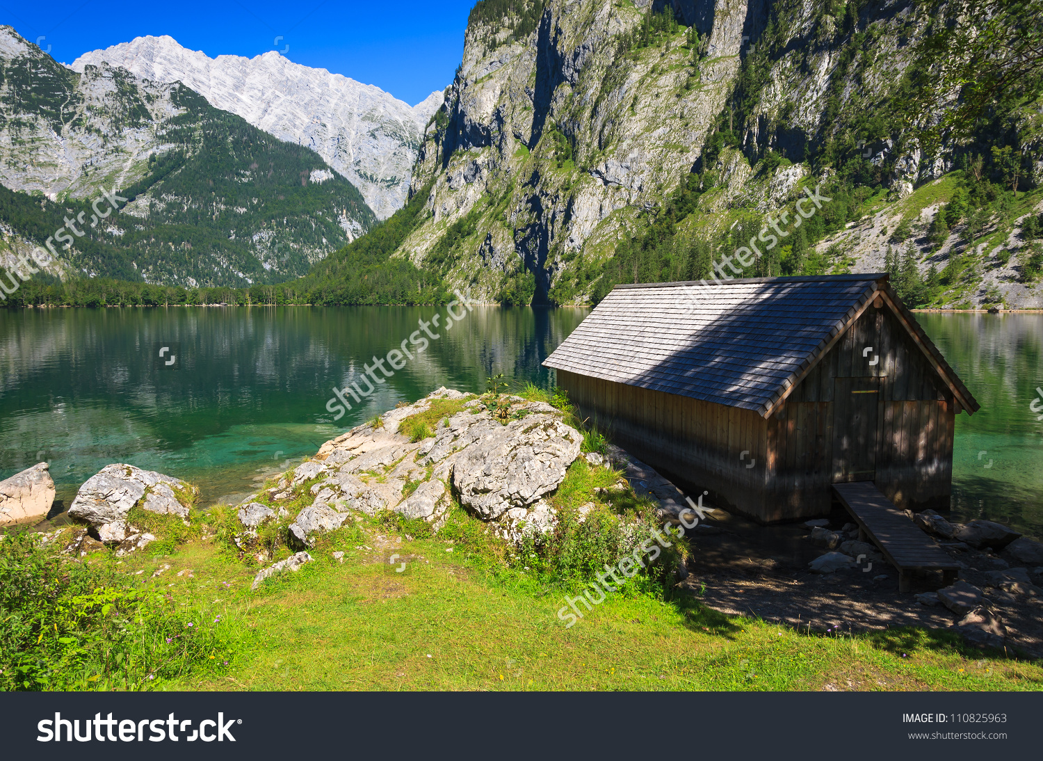 Boathouse At Obersee Mountain Lake, Berchtesgaden National Park.