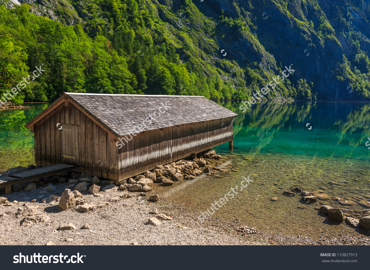 Boathouse On The Shore Of Obersee Lake, Berchtesgaden National.