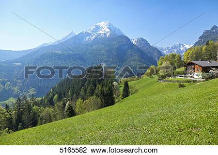 Stock Photo of Mountain farmhouse above the valley of the Ramsauer.