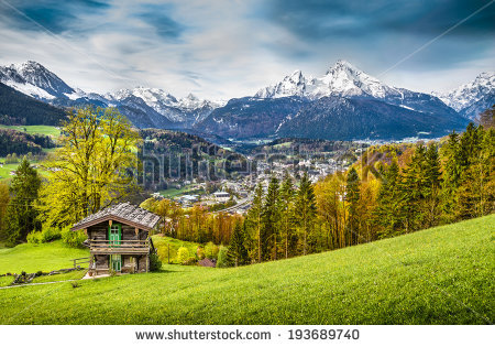 Panoramic View Beautiful Mountain Landscape Bavarian Stock Photo.