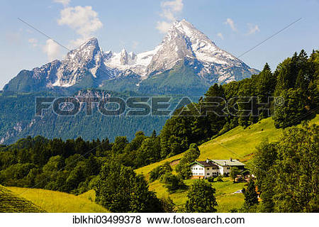"Pictures of ""View towards Watzmann Mountain from Hochtal valley."