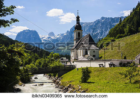 "Stock Image of ""St. Sebastian Parish Church, Ramsau, Ramsau bei."