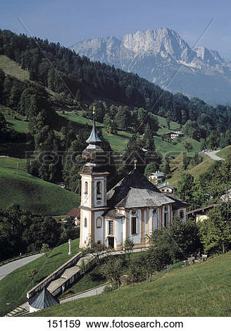 Stock Photograph of Pilgrimage church Maria Gern, Berchtesgaden.