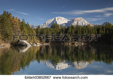 """Picture of """"Alpine landscape with Hoher Goll Mountain at Lake."""