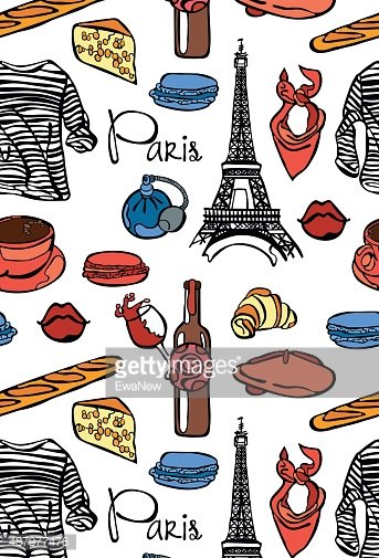 Paris. Eiffel Tower. Red beret. Cheese. Wine. Baguette.