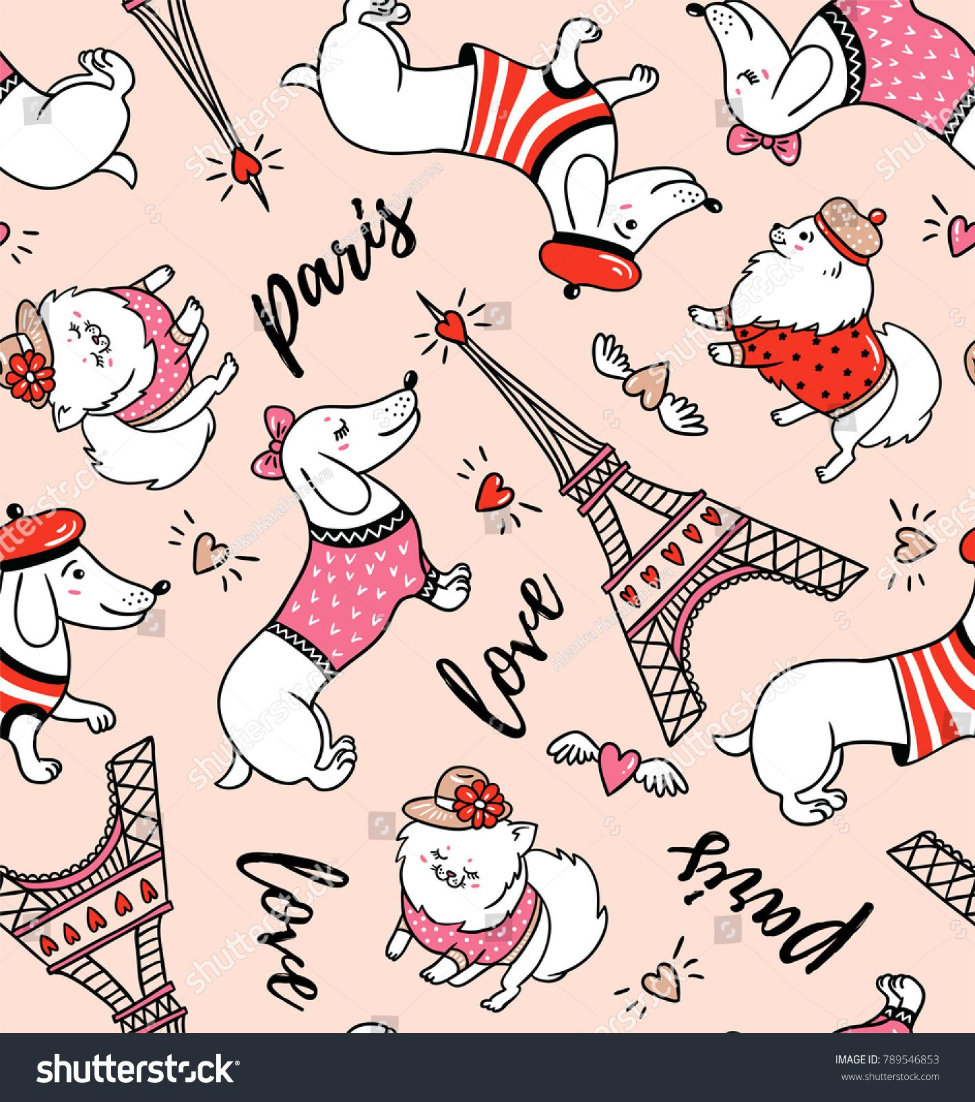 French style dog seamless pattern on pink background. Cute.