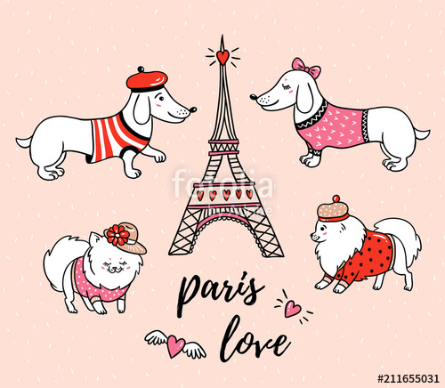 French style dogs and Eiffel tower isolated on pink.
