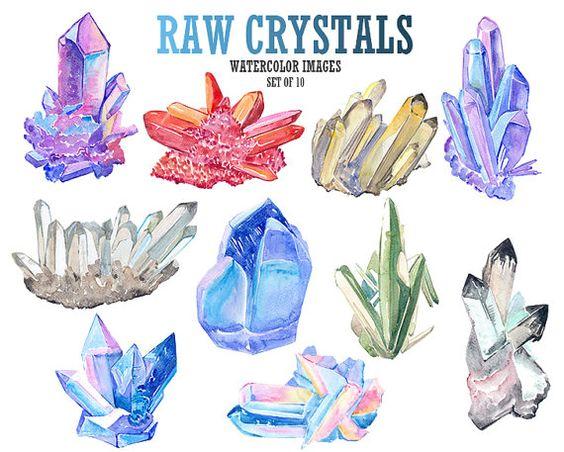 Raw crystal clip art Watercolor clipart Gemstone clip art Digital.