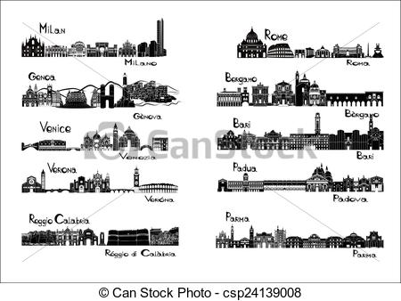 Vector Clipart of 10 cities of Italy.