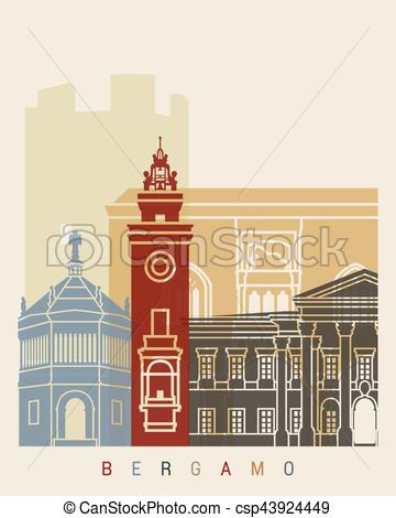 EPS Vector of Bergamo skyline poster.