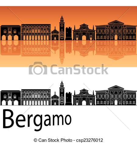 Vector Clip Art of Bergamo skyline in orange background in.