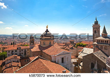 Stock Photo of View of Bergamo Alta, Italy k5870073.