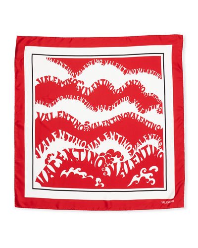 Silk Logo Waves Scarf.