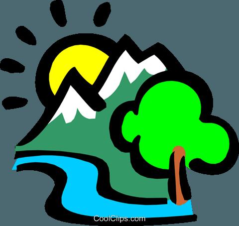 Berge mit der Sonne und Strom Vektor Clipart Bild.