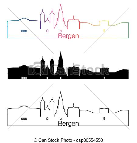 Clipart Vector of Bergen skyline linear style with rainbow in.