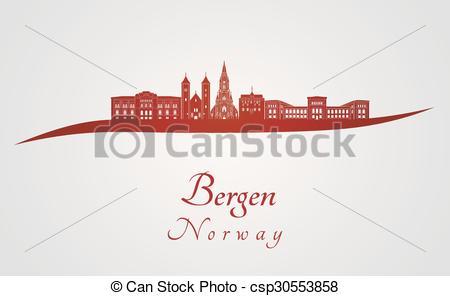 Clipart Vector of Bergen skyline in red.eps.