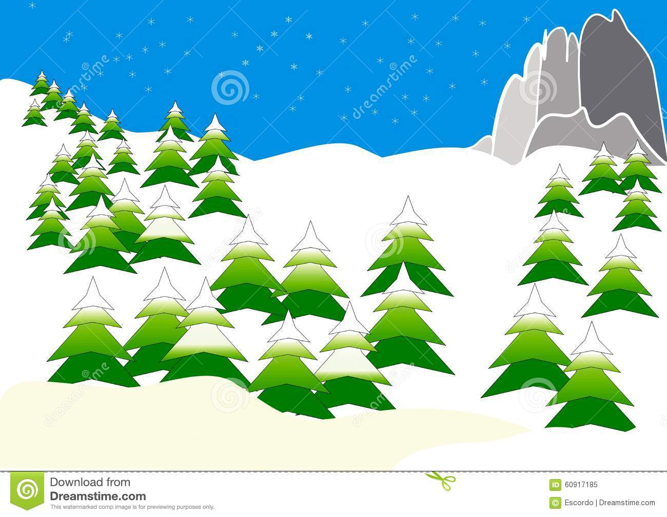 Clipart Mit Bergen Im Winter Stock Abbildung.
