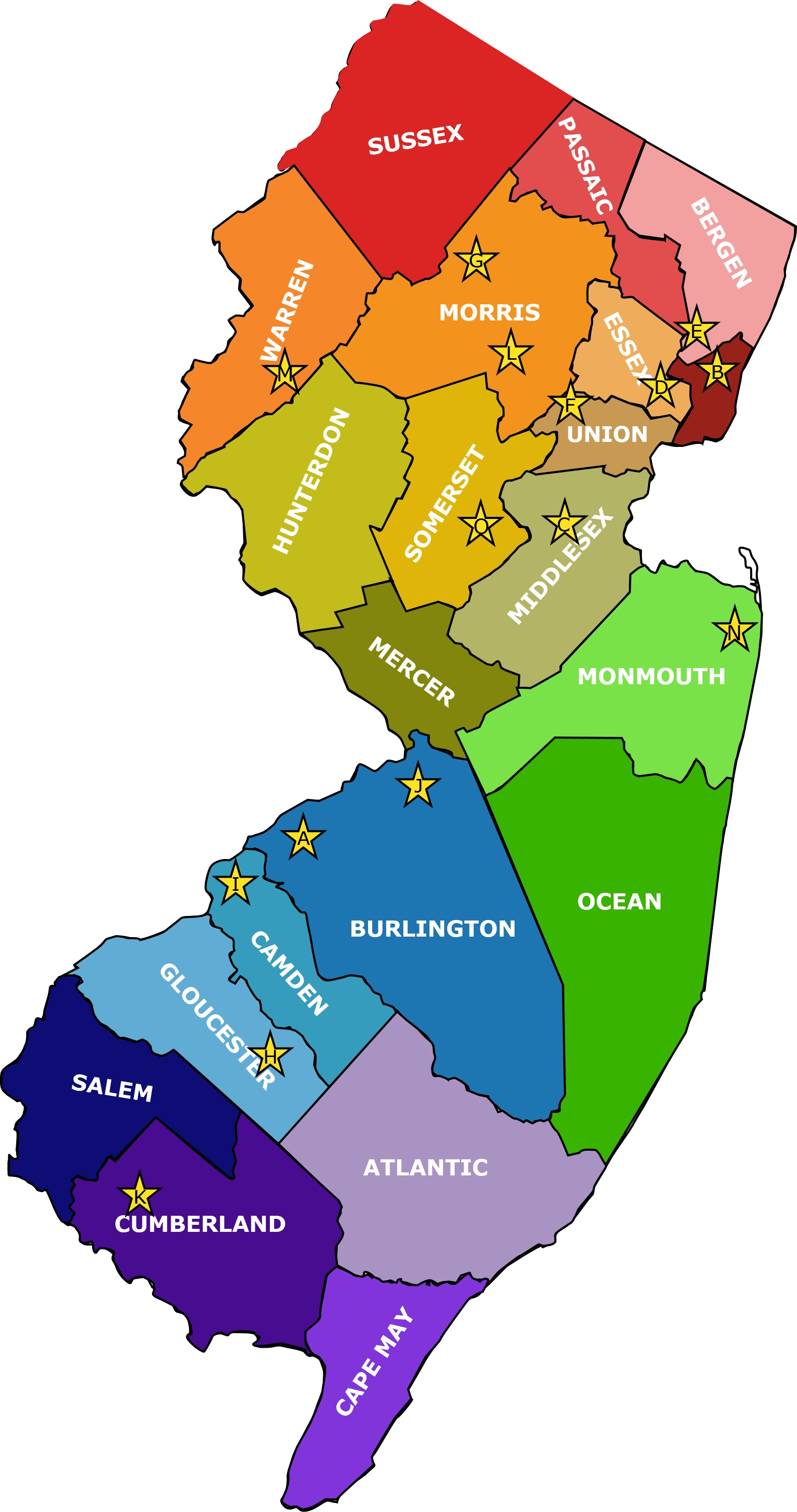 Bergen County Map Clipart.