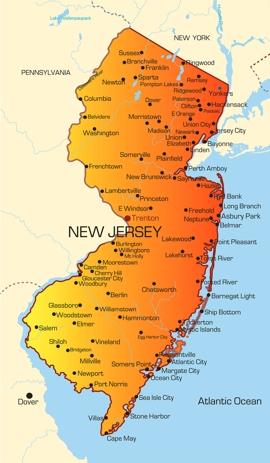Bergen county map clipart new jersey.