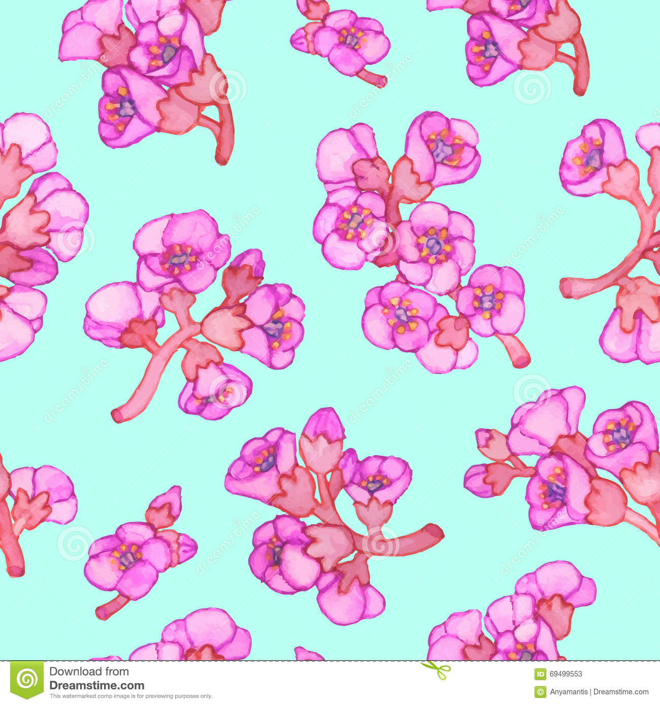 Pink Bergenia Crassifolia Blossom Seamless Pattern. Vector.