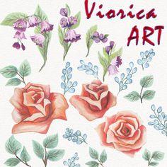 Watercolor Flower Clipart, Flowers Clipart, Watercolor Bouquets.
