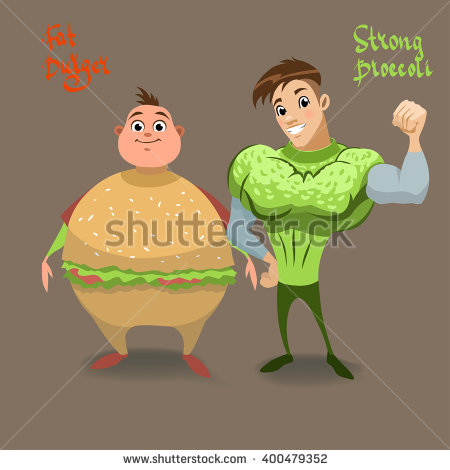 Strong Mr Broccoli Fat Mr Berger Stock Vector 400479352.